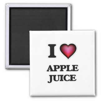 Yo zumo de manzana de amor imán cuadrado