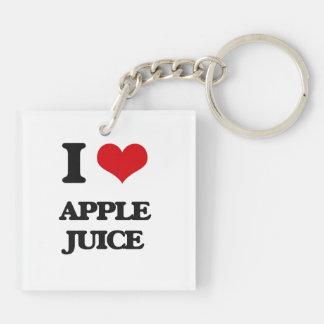 Yo zumo de manzana de amor llavero cuadrado acrílico a doble cara