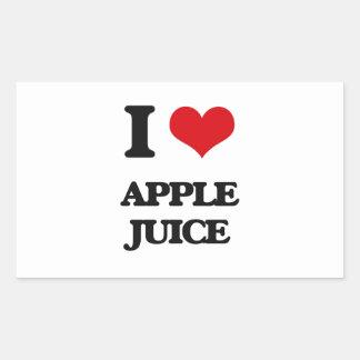 Yo zumo de manzana de amor pegatina rectangular