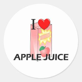 Yo zumo de manzana de amor pegatina redonda