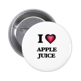 Yo zumo de manzana de amor pin redondo de 2 pulgadas