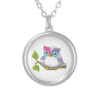 Yod the Owl, Hebrew Aleph Bet (Alphabet) Silver Plated Necklace