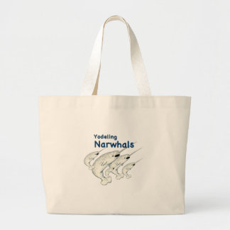 yodeling narwhals large tote bag