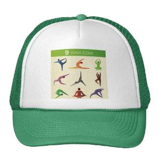 yoga 9 nine different posistions,yogi, chakra,aura hats