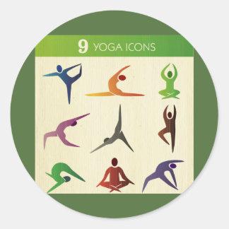yoga 9 nine different posistions,yogi, chakra,aura classic round sticker
