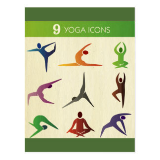yoga 9 nueve diversos posistions, yogui, chakra, postal