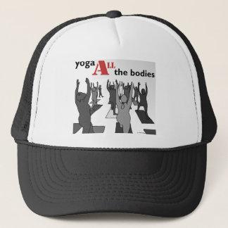 Yoga ALL the bodies! (B/W) Trucker Hat