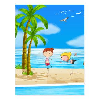 Yoga and beach postcard