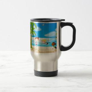 Yoga and beach travel mug