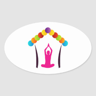 Yoga and meditation graphic oval sticker