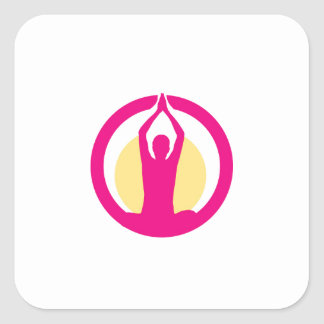 Yoga and meditation graphic square sticker