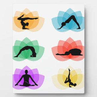yoga and meditation symbols plaque