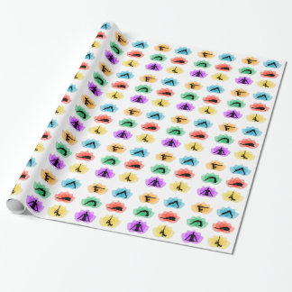 yoga and meditation symbols wrapping paper