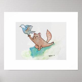 Yoga-Art Cat in Pigeon Poster