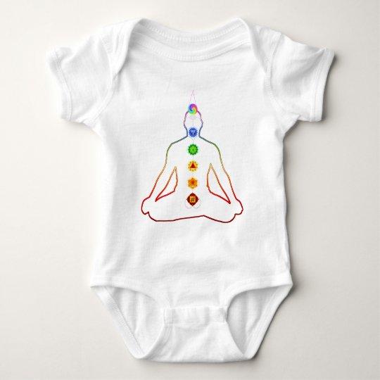 Yoga Asana Siddhasana Pose with 7 Chakras Baby Bodysuit