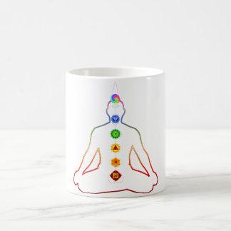 Yoga Asana Siddhasana Pose with 7 Chakras Coffee Mug