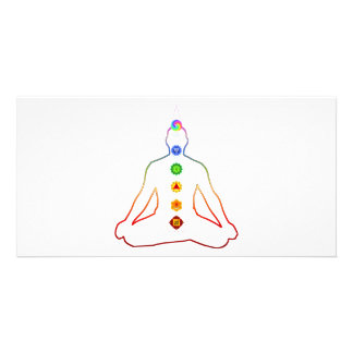 Yoga Asana Siddhasana Pose with 7 Chakras Photo Greeting Card
