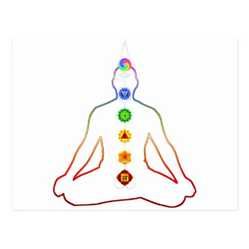 Yoga Asana Siddhasana Pose with 7 Chakras Postcard