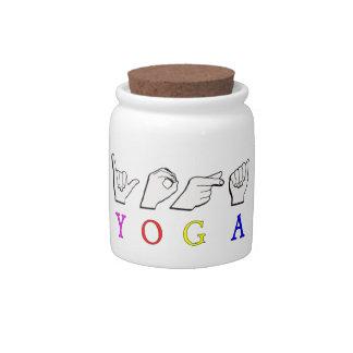 YOGA  ASL FINGER SPELLED CANDY JAR