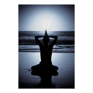 Yoga at night on the beach with full moon reflecti poster