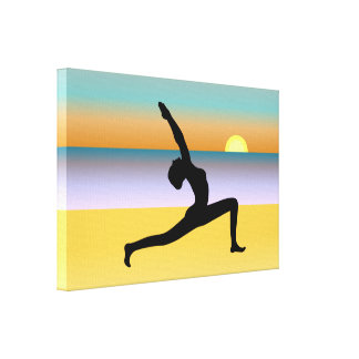 Yoga At The Beach Wrapped Canvas Art Print