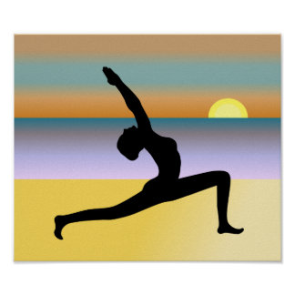 Yoga At The Beach Yoga Pose Poster Print