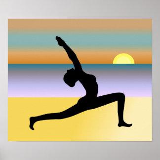 Yoga At The Beach Yoga Pose Poster Print Print