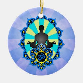 Yoga Aum de la meditación azul y amarillo Adornos