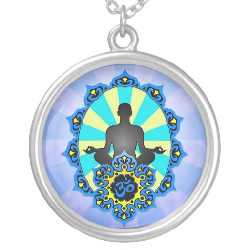 Yoga Aum de la meditación, azul y amarillo Pendientes Personalizados