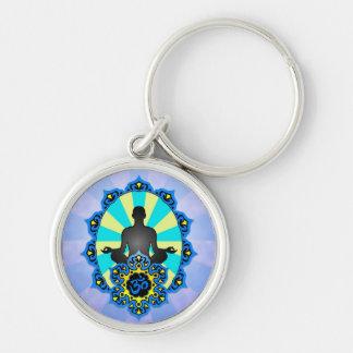 Yoga Aum de la meditación azul y amarillo Llavero Personalizado
