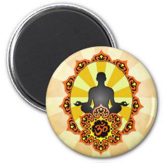 Yoga Aum de la meditación, naranja y amarillo Imán Redondo 5 Cm