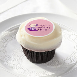 Yoga Babe birthday (pink and purple) Edible Frosting Rounds