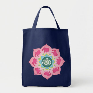 Yoga Bag Pink elephants Namaste Lotus Flower