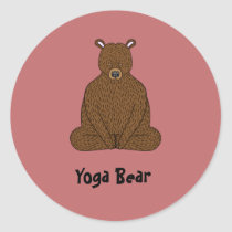 """Yoga Bear"" Round Sticker"