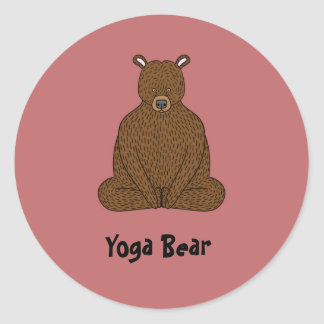 """Yoga Bear"" Round Sticker"