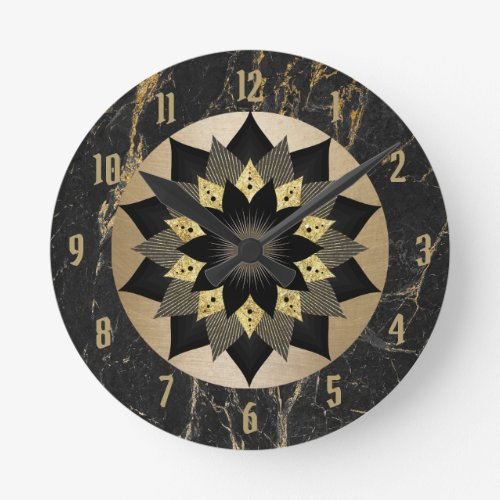 Yoga Black & Gold Lotus Flower Mandala Marble Round Clock