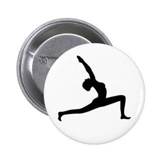 Yoga Black Silhouette Woman Posing Round Button Pin