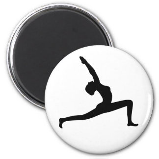 Yoga Black Silhouette Woman Posing Round Magnets