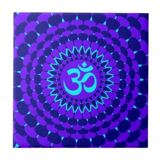 Yoga Blue Purple Mandala Ceramic Tile