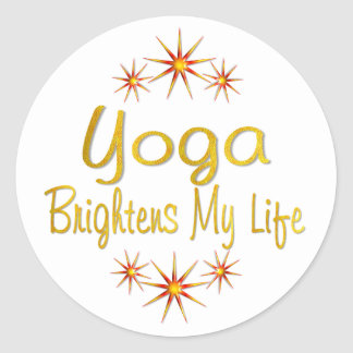 Yoga Brightens My Life Round Sticker
