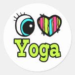 Yoga brillante del amor del corazón I del ojo Etiqueta Redonda
