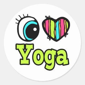 Yoga brillante del amor del corazón I del ojo Pegatina Redonda