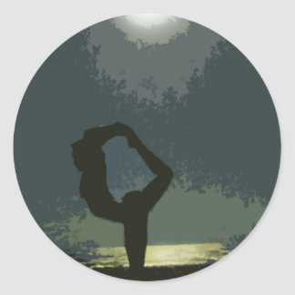 Yoga by Moonlight Classic Round Sticker