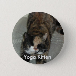 Yoga Calico Cat Pinback Button