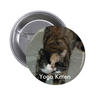 Yoga Calico Cat Pinback Button