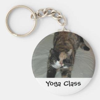 Yoga Cat Basic Round Button Keychain