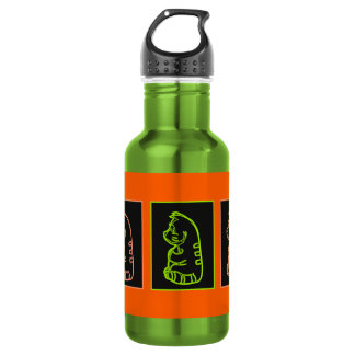 Yoga cat green and salmon water bottle