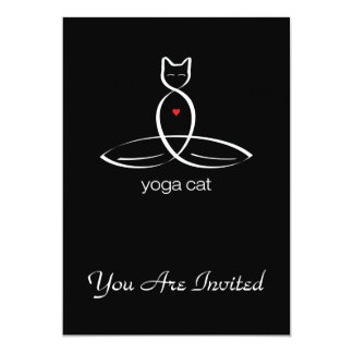 "Yoga Cat - Regular style text. 5"" X 7"" Invitation Card"