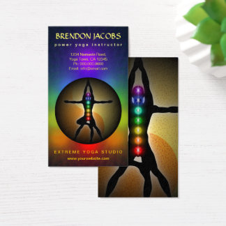 Yoga Chakras Masculine Pose Instructor Teacher Business Card