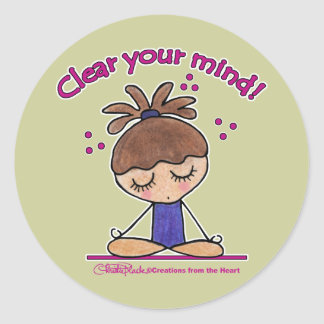Yoga Chica-Clara su mente Pegatina Redonda